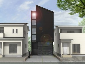 スカイバルコニーのある街中狭小住宅外観パース